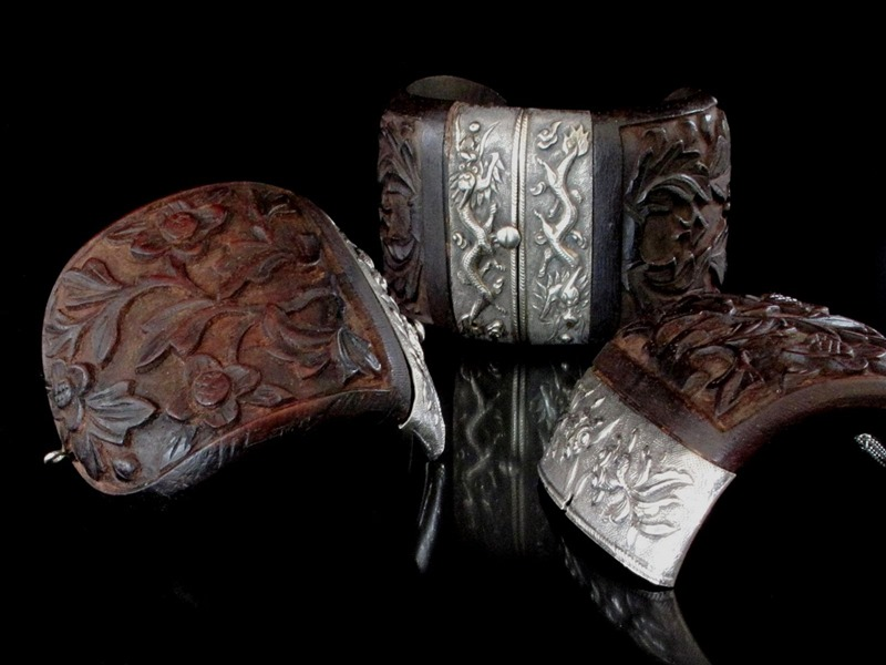 Chinese Silver and Wood Bracelets