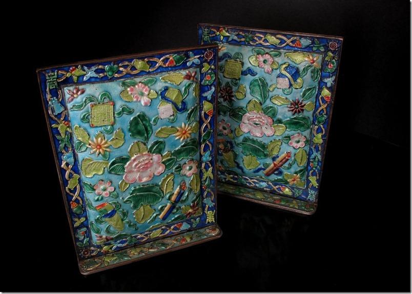 Antique Chinese Ronde-Bosse Enamel Ornaments