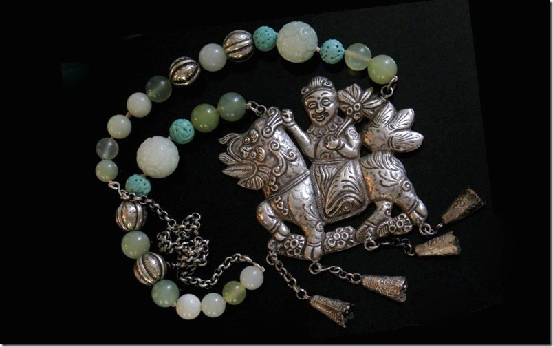 Chinese Antique Silver Qilin Necklace