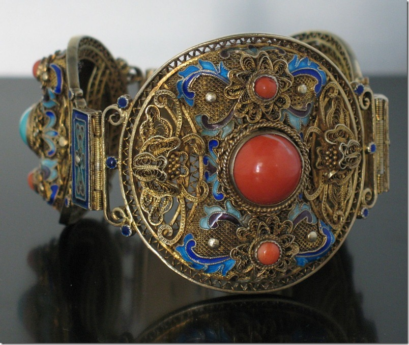 Chinese Coral Turquoise Vermeil Bracelet