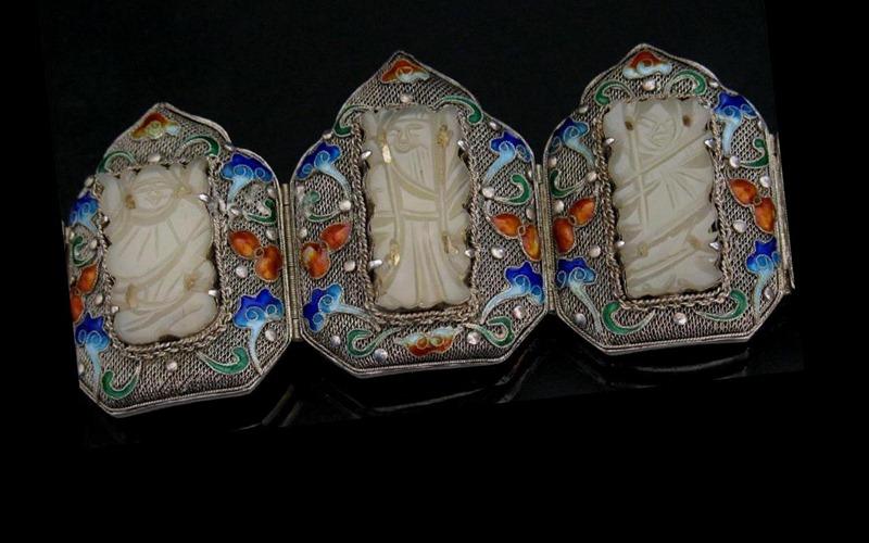 Chinese Silver Jade Daoist Wedding Bracelet