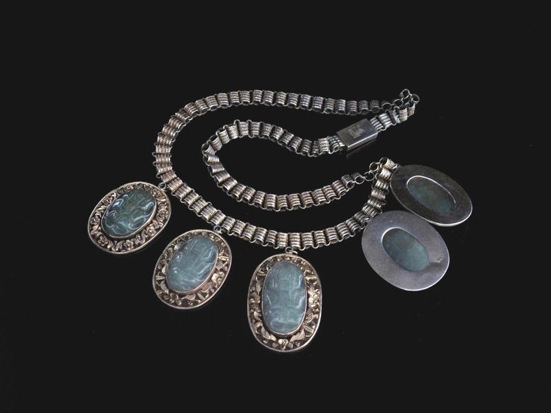 Chinese Silver Jade Cicada Necklace