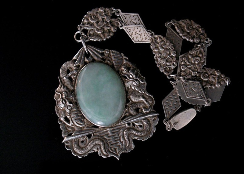 Chinese Silver Art Deco Necklace with Dragons