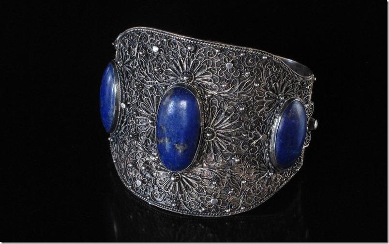 Chinese Silver Lapis Filigree Bracelet