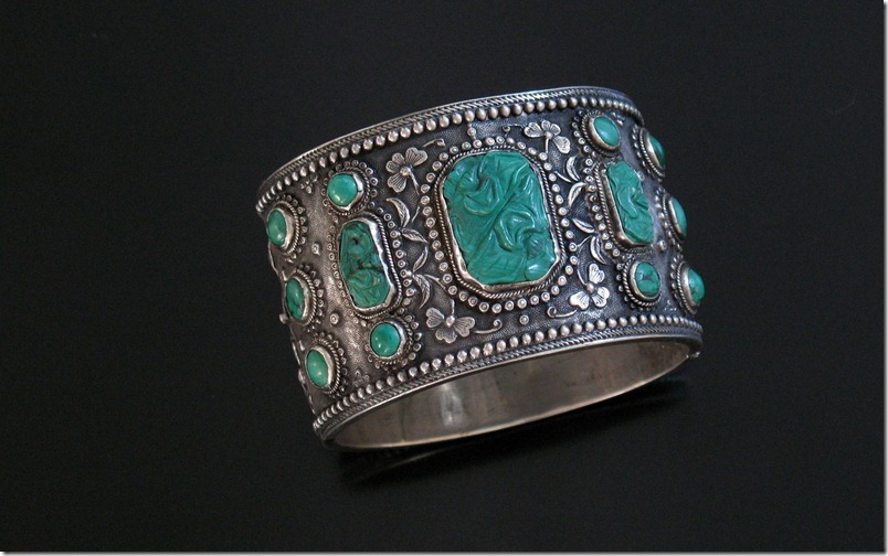 Chinese Antique Silver Turquoise Bracelet