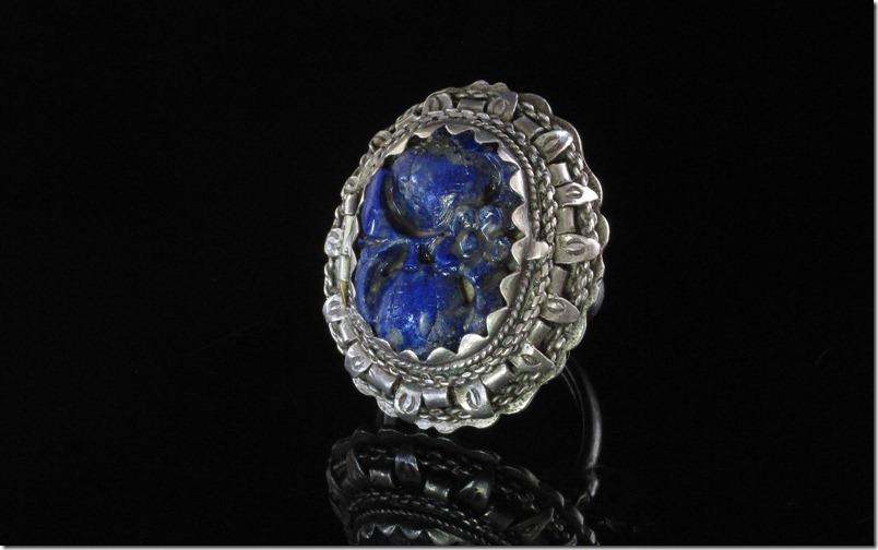 Chinese Silver Lapis Buddha Ring