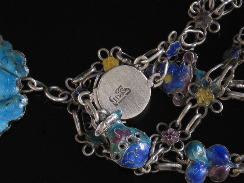 Chinese Antique Silver Enamel Necklace
