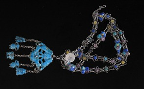 Antique Chinese Silver Enamel Necklace-1