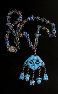 Antique Chinese Silver Enamel Necklace-3