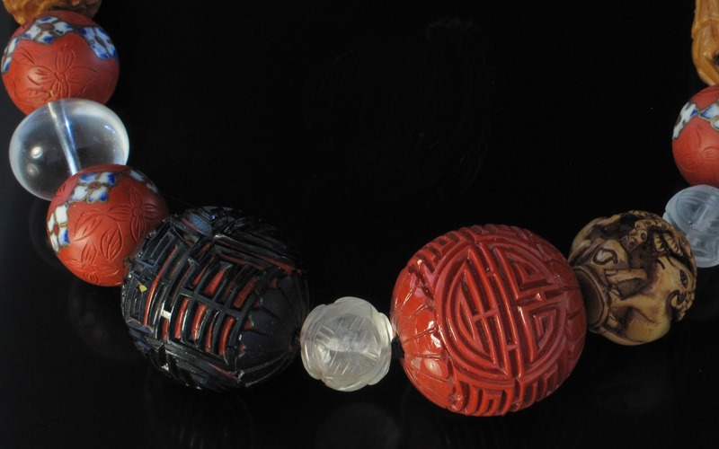 Chinese Antique Cinnabar Assorted Bead Necklace